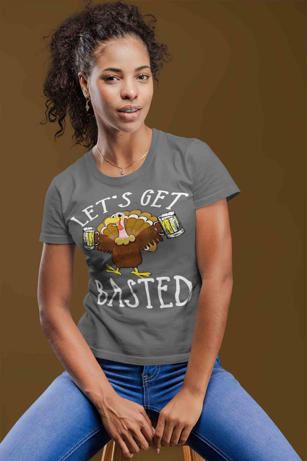 Women's Funny Thanksgiving T Shirt Let's Get Basted Turkey Shirts Graphic Tee Vintage Design Beer Shirt Get Basted Shirt-Shirts By Sarah