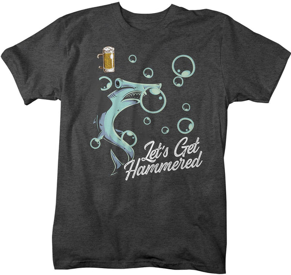Men's Funny Shark T Shirt Let's Get Hammered Shirts Funny Shark Shirt Hammerhead Beer Shirts Drinking Shirt-Shirts By Sarah