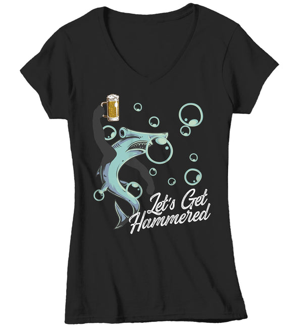 Women's Funny Shark T Shirt Let's Get Hammered Shirts Funny Shark Shirt Hammerhead Beer Shirts Drinking Shirt-Shirts By Sarah