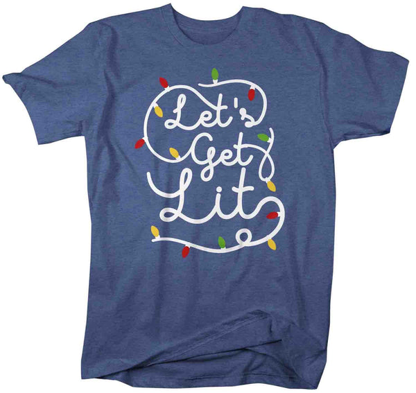 Men's Christmas Lights T Shirt Let's Get Lit Shirt Christmas Shirt Drinking Shirt Party Shirt Funny Christmas Shirt-Shirts By Sarah