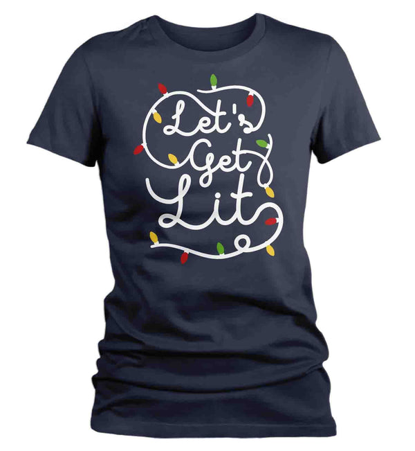 Women's Christmas Lights T Shirt Let's Get Lit Shirt Christmas Shirt Drinking Shirt Party Shirt Funny Christmas Shirt-Shirts By Sarah