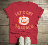 Men's Funny Halloween T Shirt Let's Get Smashed Pumpkin Graphic Tee Hilarious Halloween-Shirts By Sarah
