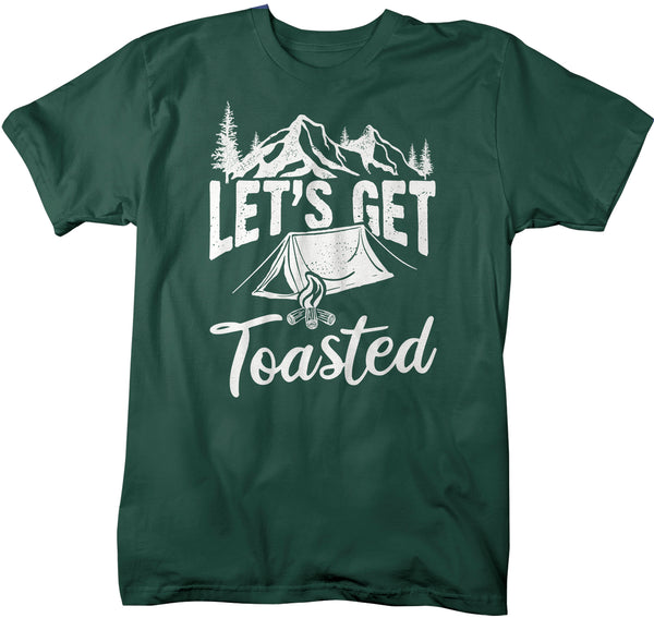Men's Funny Camping T Shirt Let's Get Toasted Shirt Camper Tee Tent Mountains Drinking Drinker Beer Bonfire-Shirts By Sarah