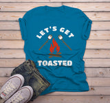 Men's Funny Bonfire T Shirt Let's Get Toasted Marshmallow Graphic Tee Camping Shirts-Shirts By Sarah