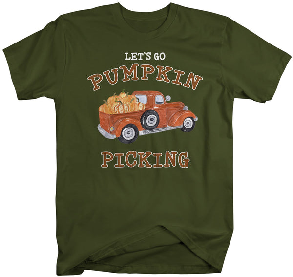 Men's Pumpkin Picking T Shirt Fall Shirts Let's Go Pumpkin Picking Shirts Vintage Truck Shirt Pumpkin Shirts Fall Shirts-Shirts By Sarah