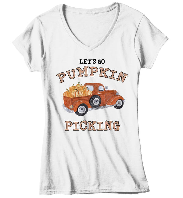 Women's Pumpkin Picking T Shirt Fall Shirts Let's Go Pumpkin Picking Shirts Vintage Truck Shirt Pumpkin Shirts Fall Shirts-Shirts By Sarah