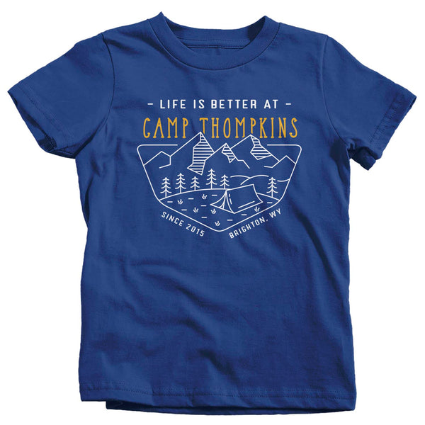 Kids Personalized Camping T Shirt Life Is Better At Camp Shirt Tent Shirt Camping Tent T Shirt Custom Camp Tee-Shirts By Sarah