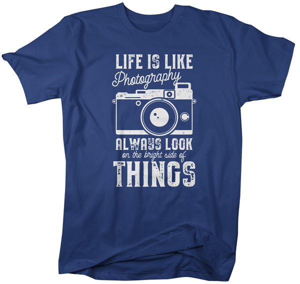 Men's Photographer T Shirt Photography Shirts Look At Bright Side Camera TShirt Inspirational Photography Shirts-Shirts By Sarah