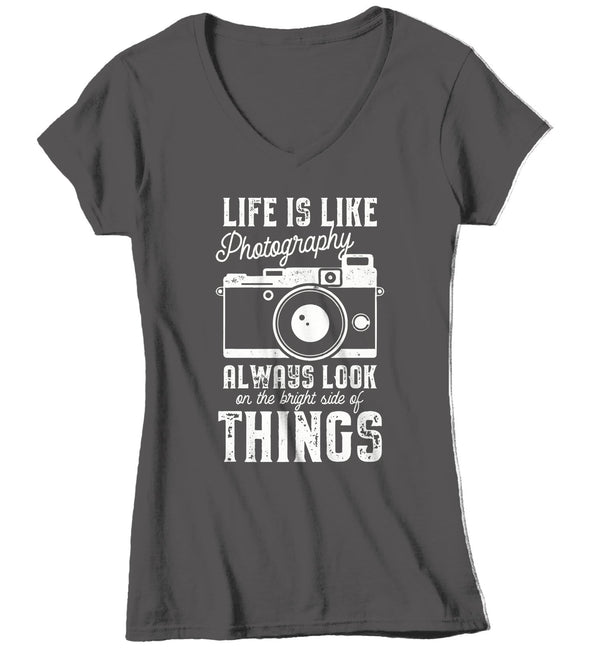 Women's Photographer T Shirt Photography Shirts Look At Bright Side Camera TShirt Inspirational Photography Shirts-Shirts By Sarah