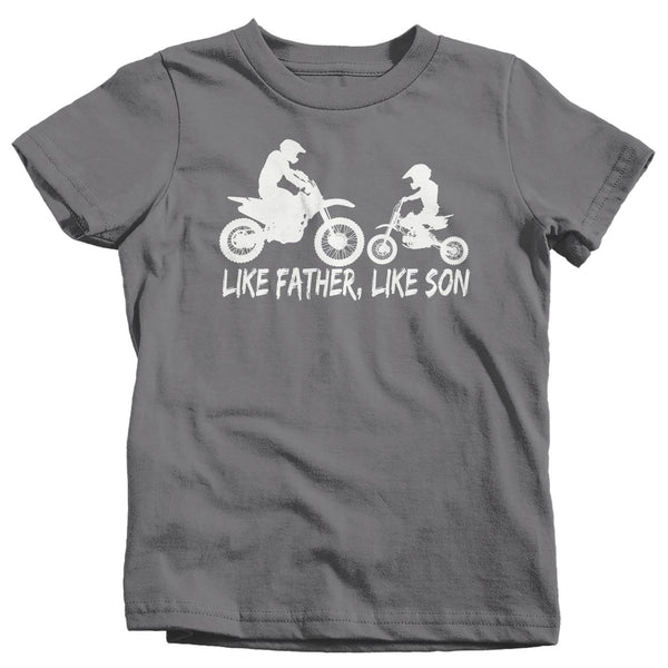 Kids Motocross T Shirt Like Father Like Son Dirt Bike Shirt Dirtbike Shirt Moto Boy's Motocross Shirt-Shirts By Sarah