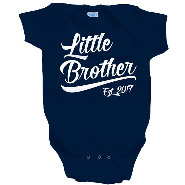 Shirts By Sarah Baby Boy's Little Brother Est. 2017 One Piece Bodysuit-Shirts By Sarah