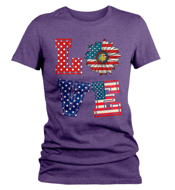 Women's Love America T Shirt Patriotic Shirt 4th July Shirt Memorial Day Shirt Flower Patriot Shirt Hippie Boho-Shirts By Sarah