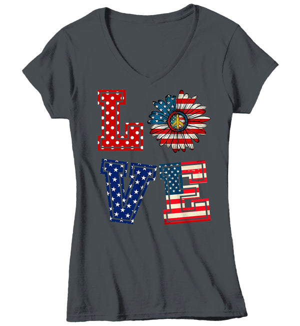 Women's V-Neck Love America T Shirt Patriotic Shirt 4th July Shirt Memorial Day Shirt Flower Patriot Shirt Hippie Boho-Shirts By Sarah