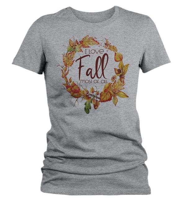 Women's Love Fall T Shirt Wreath Graphic Tee Love Fall Most Of All Shirts Leaves Happy Fall TShirt Watercolor-Shirts By Sarah