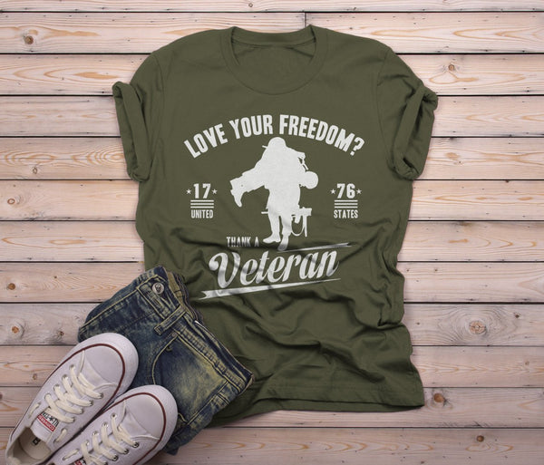 Shirts By Sarah Men's Love Your Freedom Thank A Veteran Shirt-Shirts By Sarah