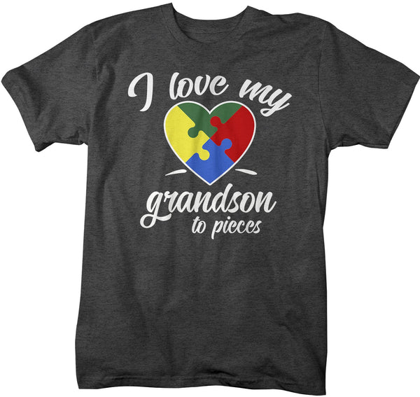 Men's Autism Grandpa T-Shirt Puzzle Heart Autism Shirts Love My Grandson To Pieces Awareness TShirt-Shirts By Sarah