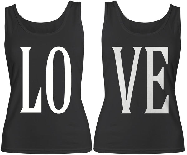 Shirts By Sarah Women's Love Matching Best Friends Cotton Tank Top Set-Shirts By Sarah