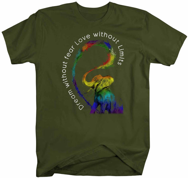 Men's LGBT T Shirt Dream Without Fear Shirt Love Without Limits Shirts Inspirational LGBT Shirts Elephant Rainbow Shirt-Shirts By Sarah