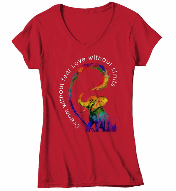 Women's V-Neck LGBT T Shirt Dream Without Fear Shirt Love Without Limits Shirts Inspirational LGBT Shirts Elephant Rainbow Shirt-Shirts By Sarah