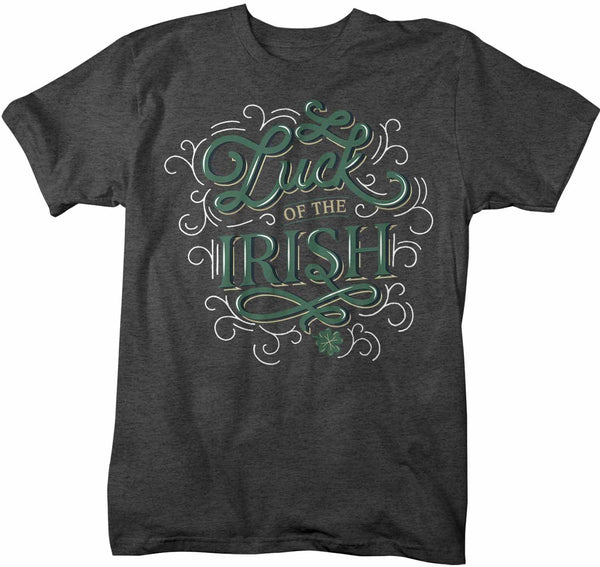 Men's St. Patrick's Day T Shirt Luck Of Irish Shirt Lucky Shirt Typography Shirt St Patty's Day Tee-Shirts By Sarah