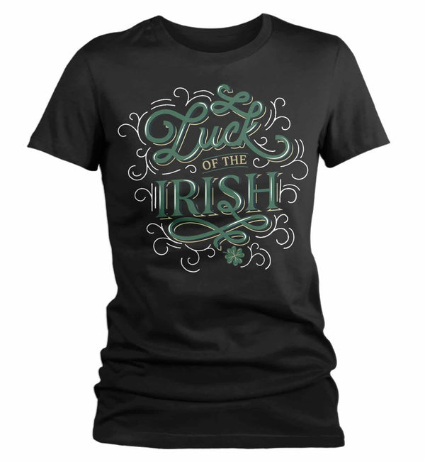 Women's St. Patrick's Day T Shirt Luck Of Irish Shirt Lucky Shirt Typography Shirt St Patty's Day Tee-Shirts By Sarah