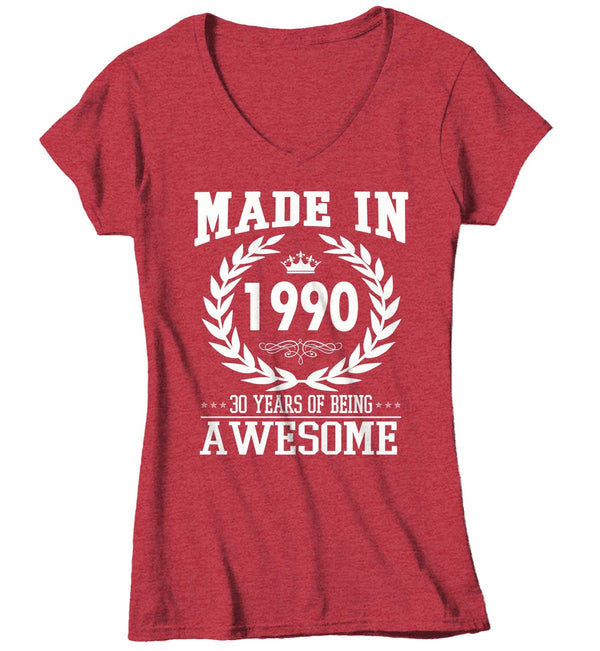Women's V-Neck Personalized Original Vintage Birthday T Shirt Custom Birthday Shirt 40th Birthday 50th Birthday 30th Birthday 60th Birthday Shirt-Shirts By Sarah