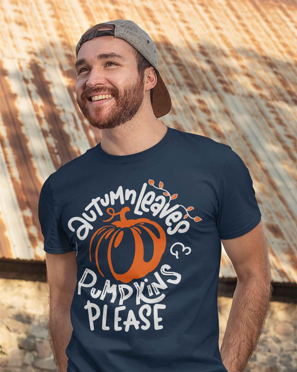 Men's Fall T Shirt Autumn Leaves Shirt Pumpkins Shirts Pumpkins Please Shirt Cute Fall T Shirts-Shirts By Sarah