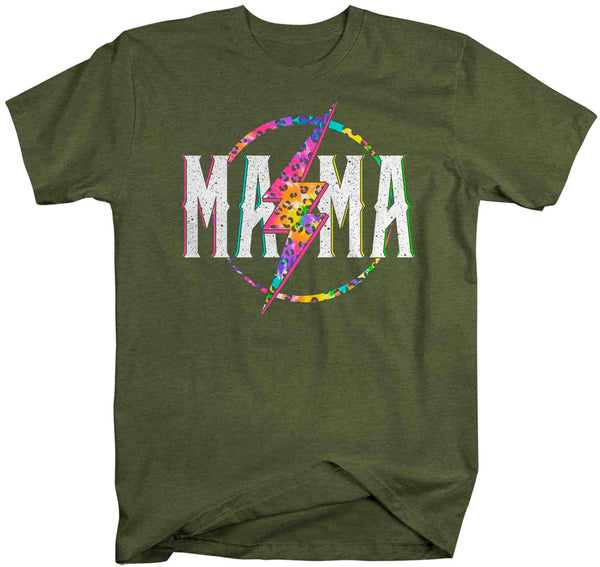 Unisex Mama Shirt Retro Mom T Shirt Leopard Mama TShirt Mother's Day Lightning Rocker Rock Star Tee Men's Soft Cotton Gift Idea-Shirts By Sarah