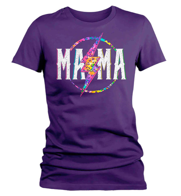 Women's Mama Shirt Retro Mom T Shirt Leopard Mama TShirt Mother's Day Lightning Rocker Rock Star Tee Ladies VNeck Soft Cotton Gift Idea-Shirts By Sarah