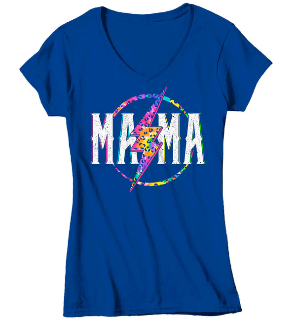 Women's V-Neck Mama Shirt Retro Mom T Shirt Leopard Mama TShirt Mother's Day Lightning Rocker Rock Star Tee Ladies VNeck Soft Cotton Gift Idea-Shirts By Sarah