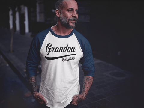 100d2949 Men's Grandpa Gift EST. 2020 T-Shirt New Baby Reveal Idea Gift Father's Day