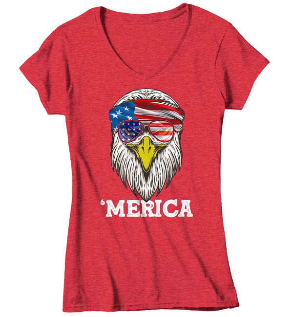 Women's V-Neck Funny 4th July T Shirt Merica Shirt Eagle Head Band Shirt Patriotic America Shirt Bandana Flag Shirt Hipster Shirt-Shirts By Sarah