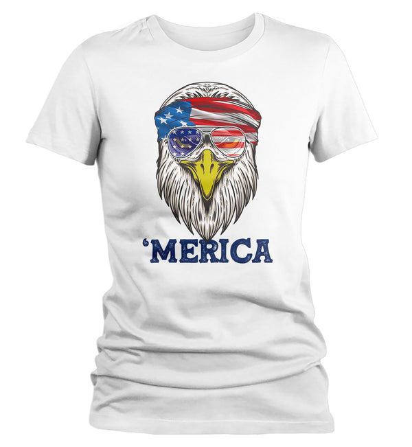 Women's Funny 4th July T Shirt Merica Shirt Eagle Head Band Shirt Patriotic America Shirt Bandana Flag Shirt Hipster Shirt-Shirts By Sarah