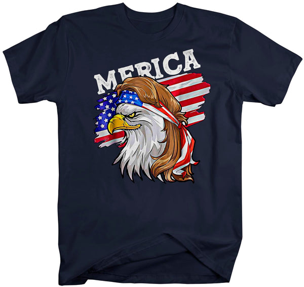 Men's Funny 4th July T Shirt Merica Shirt Eagle Mullet Shirt Patriotic America Shirt Flag Shirt Hipster Shirt-Shirts By Sarah