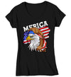 Women's V-Neck Funny 4th July T Shirt Merica Shirt Eagle Mullet Shirt Patriotic America Shirt Flag Shirt Hipster Shirt