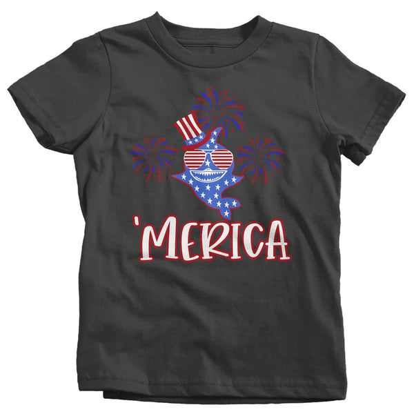 Kid's Funny Merica Shark T Shirt Patriotic Shark Shirts 4th July Shark TShirt Patriotic 'Merica Shirt Toddler Baby-Shirts By Sarah