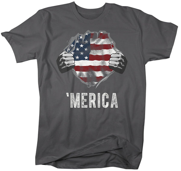 Men's American Flag T-Shirt Superhero 'Merica Flag Patriotic Shirts 4th July T-Shirt United States Shirt Hipster-Shirts By Sarah