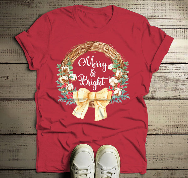 Men's Christmas T Shirt Christmas Shirt Christmas Outfit Christmas Wreath Merry And Bright Shirt-Shirts By Sarah