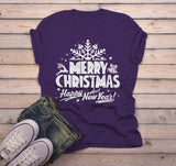 Men's Merry Christmas T Shirt Happy New Year Shirts Festive Holiday Graphic Tee-Shirts By Sarah