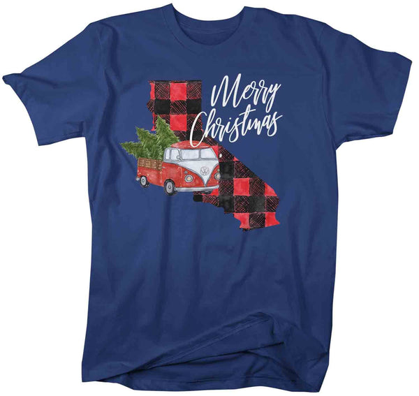Men's Personalized Christmas T Shirt Merry Christmas Shirt State Christmas Shirts Xmas Shirt Buffalo Plaid Vintage Truck-Shirts By Sarah