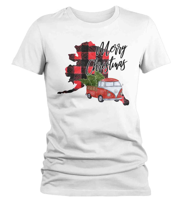 Women's Personalized Christmas T Shirt Merry Christmas Shirt State Christmas Shirts Xmas Shirt Buffalo Plaid Vintage Truck-Shirts By Sarah