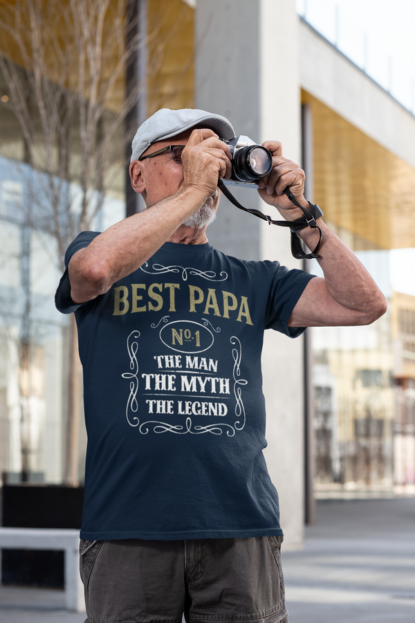Men's Best Papa Shirt Vintage Tee Classic Whiskey Man Myth Shirt Father's Day Gift Idea Shirt Legend No. 1 Grandpa Unisex Man Soft Tee-Shirts By Sarah