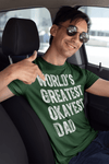 Men's Funny Dad T Shirt World's Greatest Okayest Dad TShirt Father's Day Gift Idea Tee