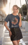 Men's America Sunflower T-Shirt 4th July Shirt Boho America Shirts Memorial Day Shirt Patriotic Sunflower Shirt