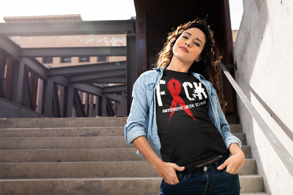 Women's F*ck ALS T-Shirt Red ALS Amyotrophic Lateral Sclerosis Ribbon MS Shirt-Shirts By Sarah