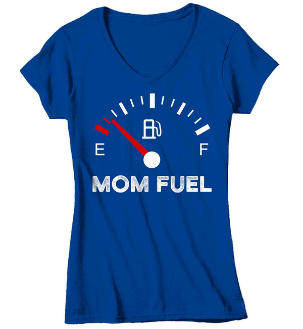 Women's V-Neck Funny Mom Shirt Mom Fuel Gauge Tee Empty No Energy Shirt Mother's Day Gift Idea Shirt For Mama Ladies V-Neck Soft Tee-Shirts By Sarah
