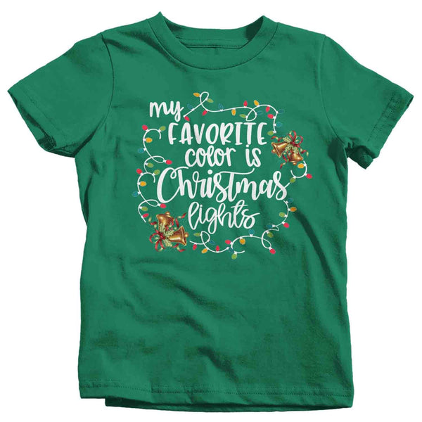 Kids Christmas Lights T Shirt Favorite Color Christmas Lights Shirt Cute Xmas Shirt-Shirts By Sarah