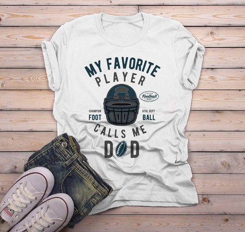 366968e8 Men's Football Dad T Shirt My Favorite Player Calls Me Graphic Tee Football Shirts  Dad Gift