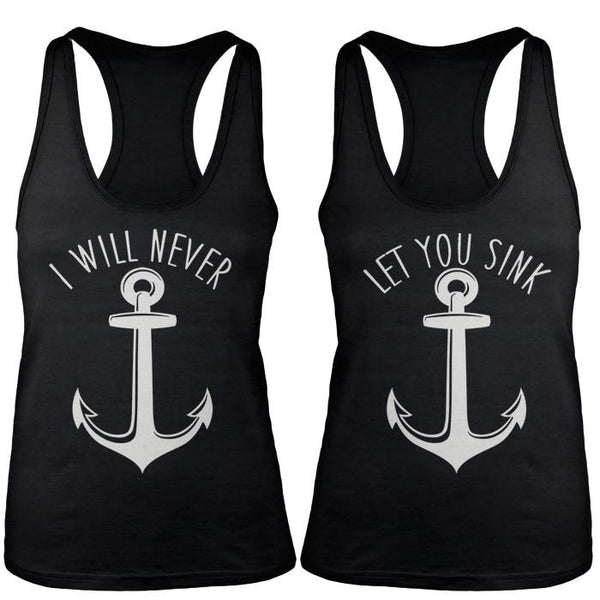 Shirts By Sarah Women's Nautical Anchor Best Friend Tank Tops-Shirts By Sarah