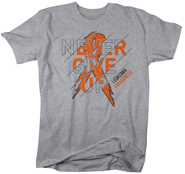 Men's Leukemia T Shirt Never Give Up Leukemia Shirts Orange Ribbon Cancer TShirt Leukemia Shirts Typography-Shirts By Sarah